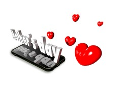 Hearts emerge from cell phone screen along with soft three-dimensional text Mother's Day