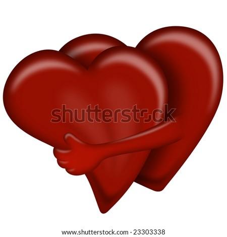 Hearts Hug, Valentines Day Illustration on white background