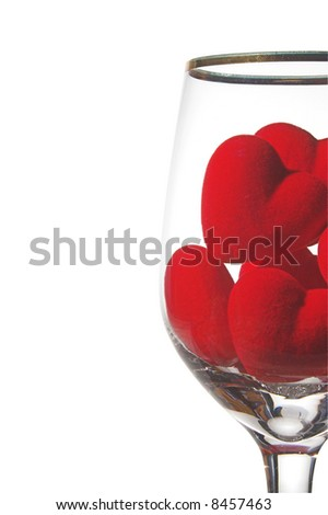 Hearts in a wine glass. Concept of love.