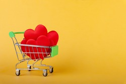 hearts in shopping grocery cart, shopping handcart