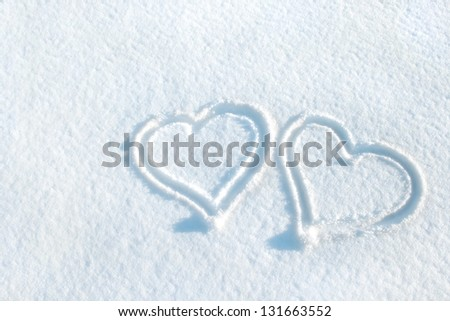 Hearts in snow/hearts/winter