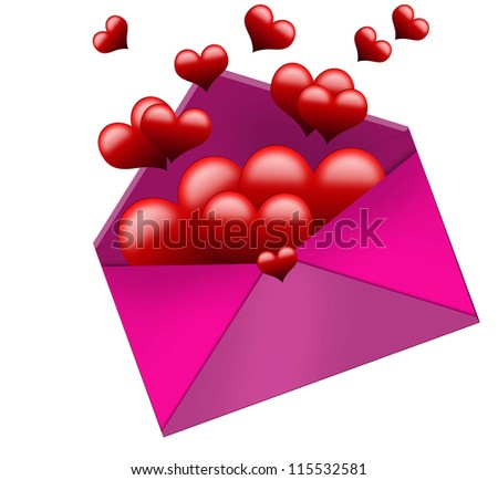 hearts into envelope on white background