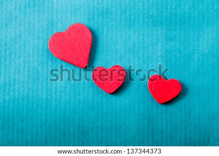 Hearts isolated on blue background #137344373