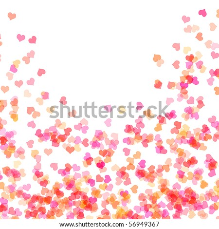 hearts of different colors drawn on a white background - stock photo