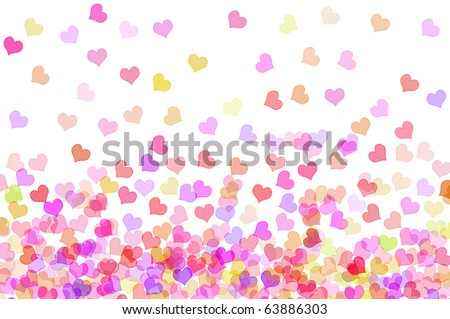 hearts of different colors drawn on a white background