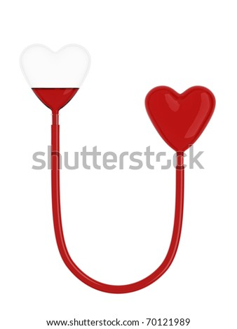 Hearts of glass connected by tube with blood on white