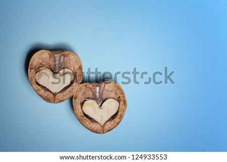 Hearts of two half nuts, walnuts on a blue background, Valentine's Day
