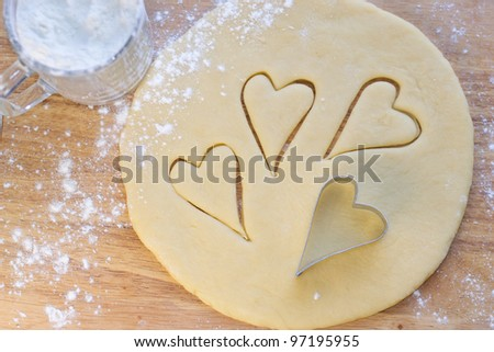 Hearts on cookie dough