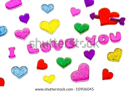 Hearts on mirror, isolated on white background