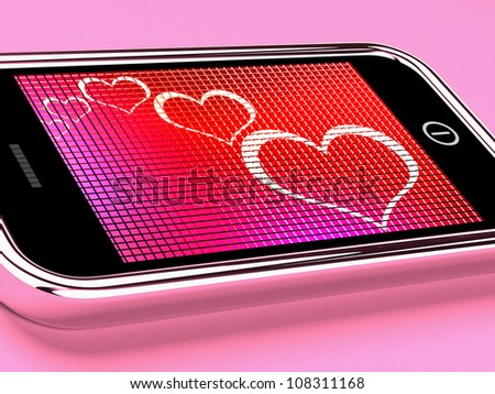 Hearts On Mobile Phone Screen Showing Online Dating