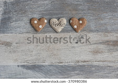 Hearts on wooden background, for Valentine Day. #370980386