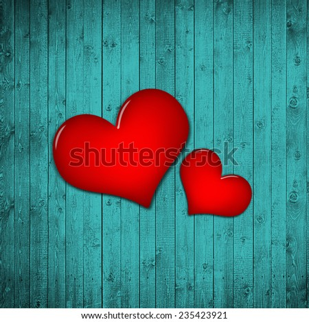 hearts,red color with  turquoise wood background #235423921