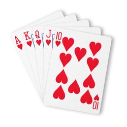 Hearts royal flush flat on white winning hand business concept