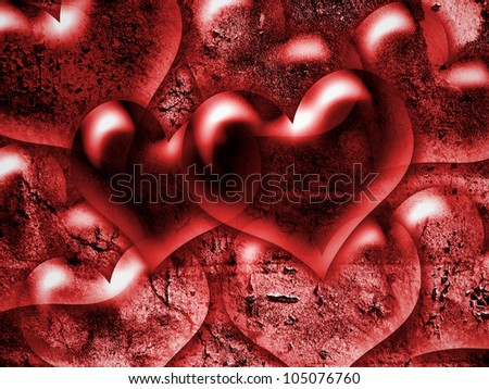 hearts, with a grungy background texture