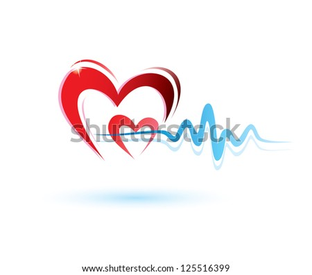 hearts with ecg icon, medicine concept. raster version