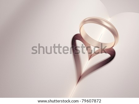 heartshadow with rings on a book middle - card - write your text in white space