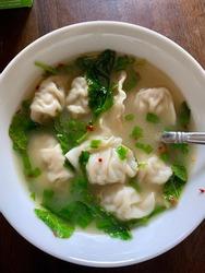 Hearty bowl of won-ton soup.