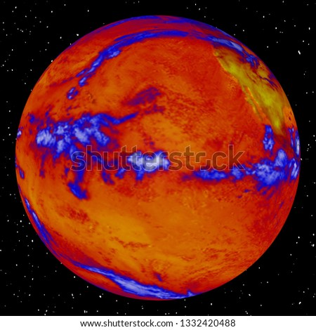 Heat map of the earth. Thermal map. Global warming concept.  Elements of this image furnished by NASA.