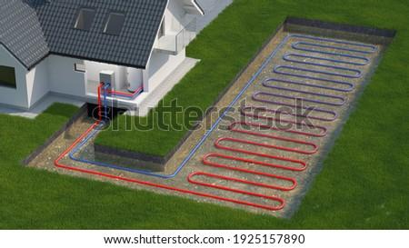 Heat Pump, ground source system, 3d illustration