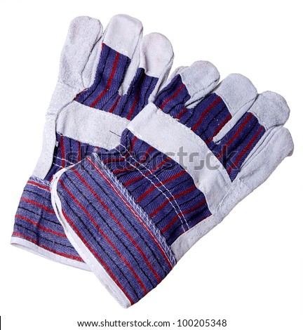 Heat resistant gloves for welding of plastic pipes, isolated on a white background. Used to install plumbing and heating pipes made of polypropylene