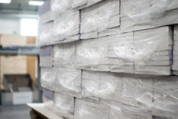 Heat Shrink Wrapped Books Awaiting Delivery Industrial Production Automated Packaging Machinery