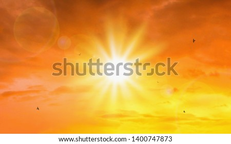 Heat wave of extreme sun and sky background. Hot weather with global warming concept. Temperature of Summer season. #1400747873