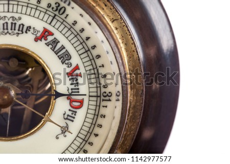 Heat wave. Very dry weather forecast by vintage barometer. Extreme hot temperature and drought. Global warming and climate change. Forecasting a heatwave. #1142977577