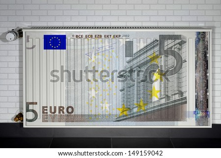 Heater covered with euro note