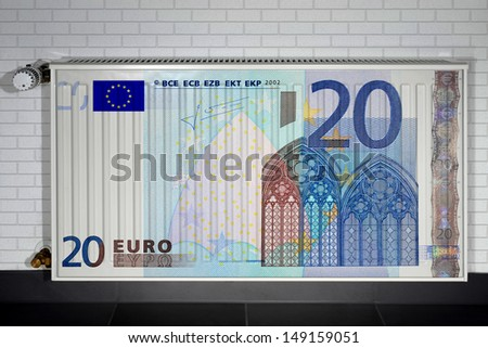 Heater covered with euro note #149159051