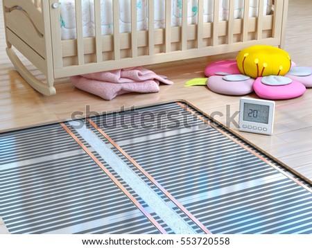 Heating concept. Underfloor heating. Layers of heating floor in the room. 3d illustration