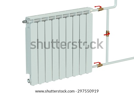 heating radiator closeup isolated on white background #297550919