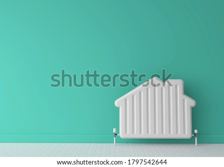 Heating radiator in the shape of a house. Home energy. 3D Rendering Сток-фото ©