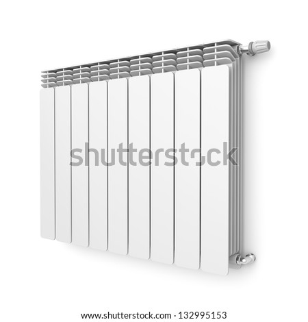 Heating radiator with thermostat attached on wall #132995153