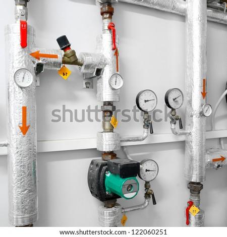 heating system industrial water pipeline in a boiler room