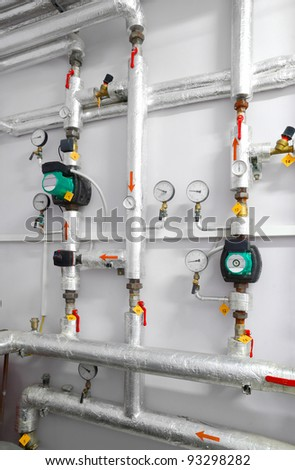 heating system industrial water pipeline in a boiler room - stock photo