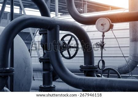 heating system. Pipelines, water pump, valves, manometers.