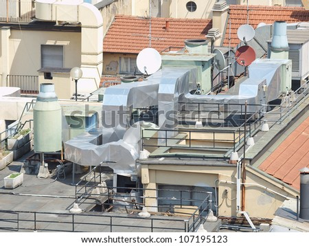 Heating ventilation and air conditioning device and satellite tv aerial antennas on a roof top