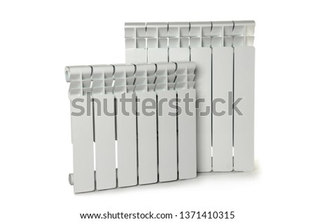 Heating white radiator isolated on white background #1371410315