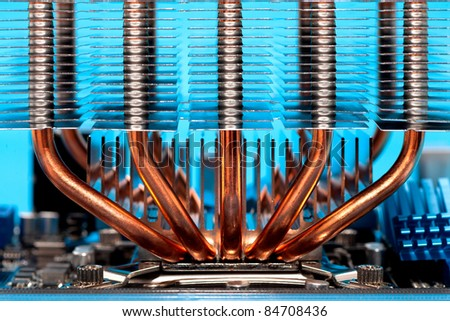 heatpipes and radiator mounted on computers processor - cooling system