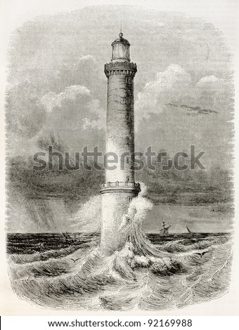 Heaux de Brehat lighthouse old illustration, France. By unidentified author, published on Magasin Pittoresque, Paris, 1845