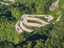 Heaven Linking Avenue Big Gate Road Tongtian Highway Natural Cave Crowning Dangerous Cliffsides Range Rover Sport Tianmen Mountain China