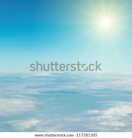 Heaven, sun, sky and clouds. View from the above