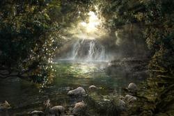 Heavenly jungle with beautiful waterfall