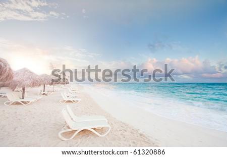 Heavenly paradise ocean sunrise sunset
