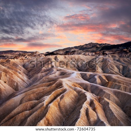 Heavily Eroded Ridges At Zabriskie Point, Death Valley National Park, California, USA