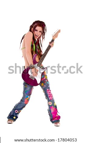 Heavily tattooed young hippie rocker