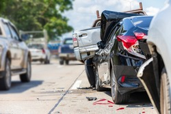 Heavy accident, Modern car accident involving many cars on the road in Thailand