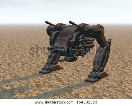 Stock Photo Heavy armed Mechanized Intelligent Vehicle at the desert on dusk. Original creation and modeling by the author.