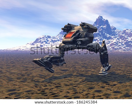 Stock Photo Heavy armed Mechanized Intelligent Vehicle at the mountains. Original creation and modeling by the author.