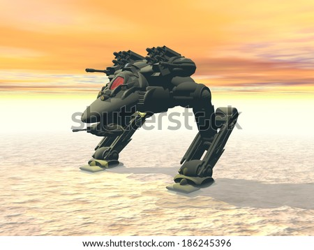 Stock Photo Heavy armed Mechanized Intelligent Vehicle on station. Original creation and modeling by the author.